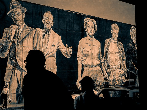 Black and white wall mural of Hollywood Legends in Hollywood, California.